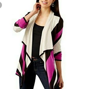 INC coloblock pink black duster cardigan NWT PL